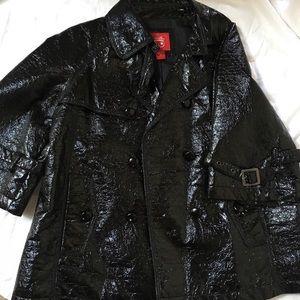 Black patent faux leather jacket
